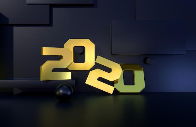 2020 ano sinal dourado com fundo preto