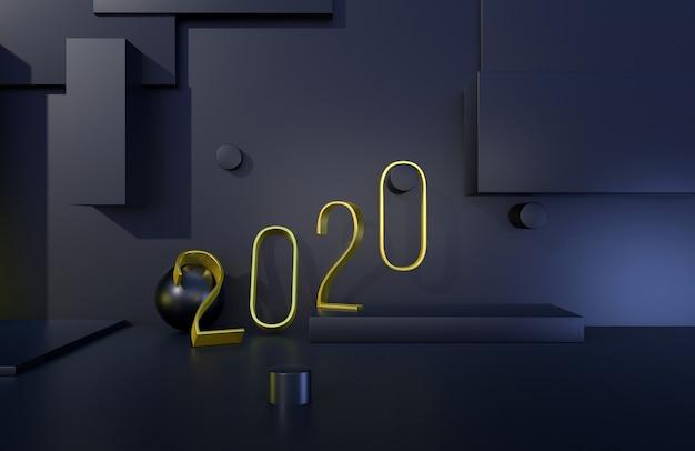 2020 anos de sinal dourado com fundo preto. ilustração 3d