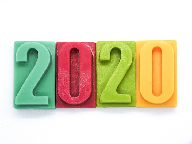 2020 feliz ano novo bar de chocolate número