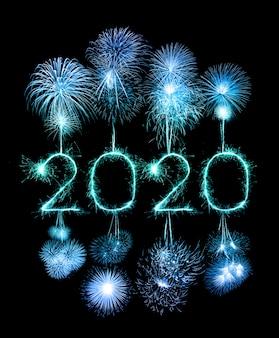 2020 feliz ano novo fireworkswritten com estrelinhas à noite