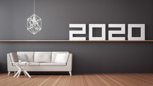 2020 feliz ano novo interior da sala de estar / interior de renderização em 3d