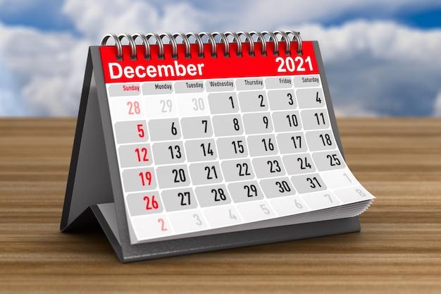 2021 anos. calendário para dezembro. ilustração 3d