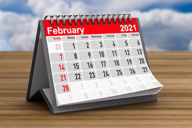 2021 anos. calendário para fevereiro. ilustração 3d