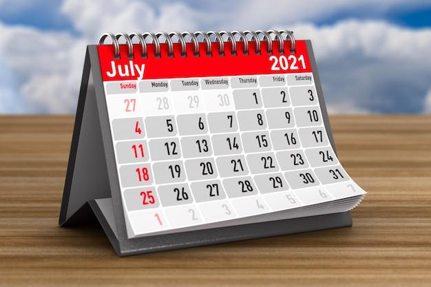 2021 anos. calendário para julho. ilustração 3d