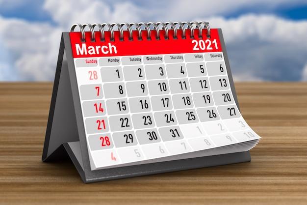 2021 anos. calendário para março. ilustração 3d