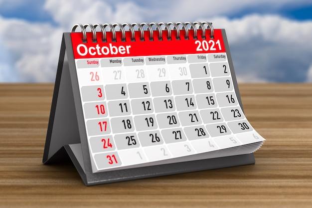 2021 anos. calendário para outubro. ilustração 3d