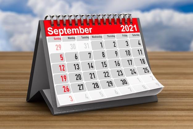 2021 anos. calendário para setembro. ilustração 3d