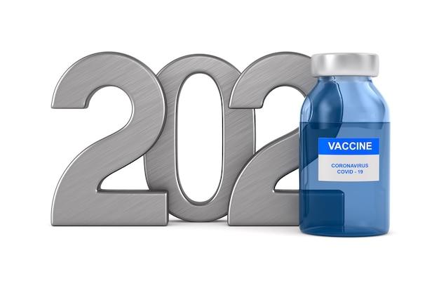 2021 anos. vacina de covid-19 em fundo branco. ilustração 3d isolada