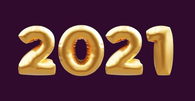 2021 balões 3d dourados. balões de ouro números 2021 isolados em fundo escuro. balões ouro 2021