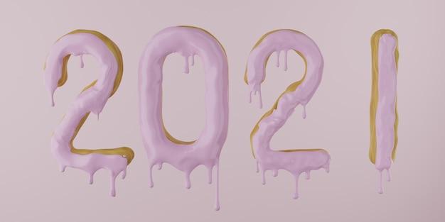 2021 de um donut com glacê pingando em um fundo rosa, renderização 3d