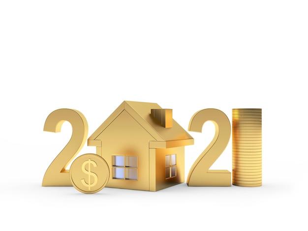 2021 dourado com ícone de casa e moedas de dólar