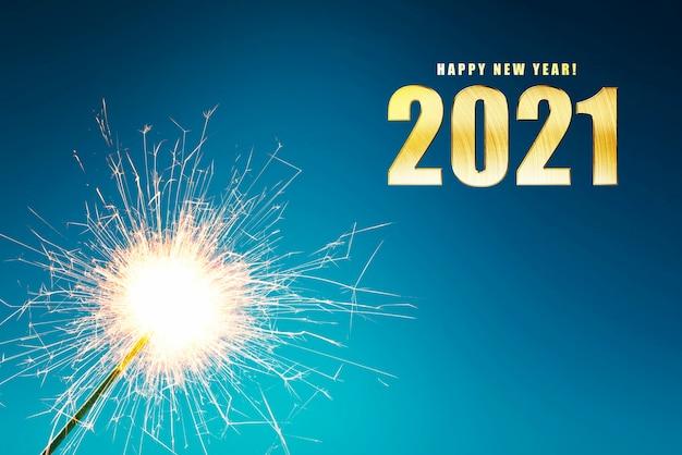 2021 e fogos de artifício. feliz ano novo 2021