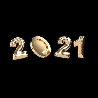 2021 e moeda de ouro. renderização 3d Foto Premium