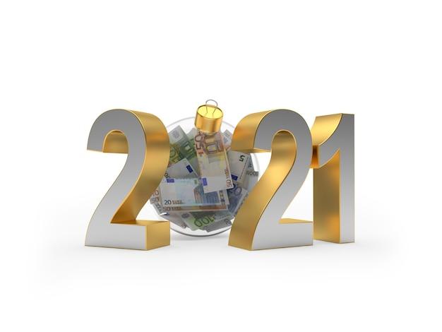 2021 e uma bola de natal transparente cheia de notas de euro