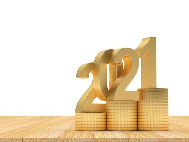 2021 em pilhas de moedas de ouro em uma madeira