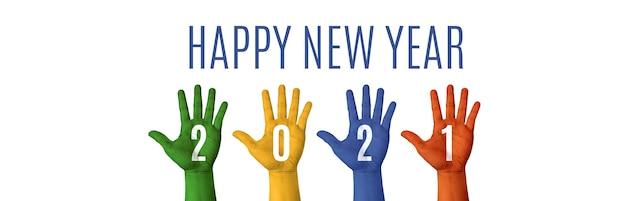 2021 feliz ano novo pintura colorida à mão em fundo branco