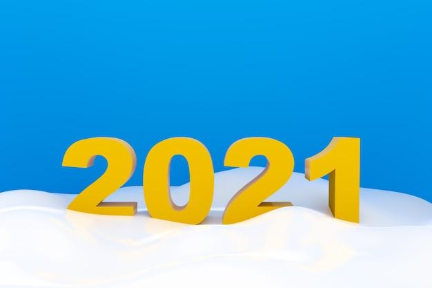 2021 números estão na neve em fundo azul, 2021 letras brancas
