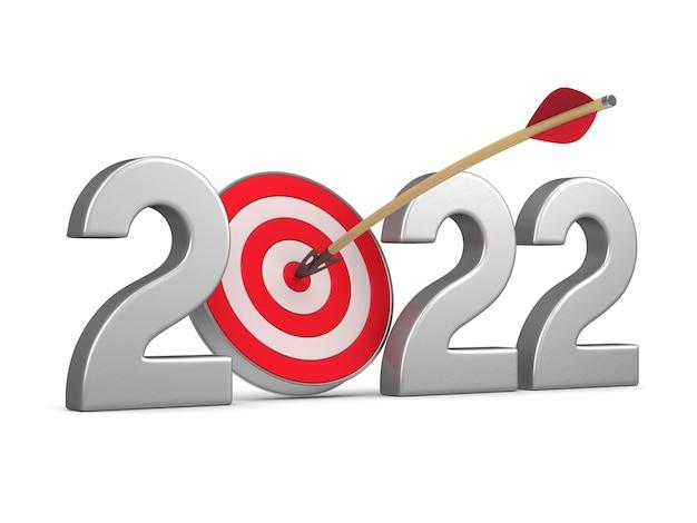 2022 ano novo em fundo branco. ilustração 3d isolada