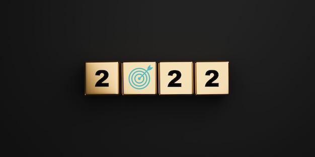2022 anos com tela de impressão de placa de destino no cubo dourado em fundo escuro para o feliz ano novo e iniciar um novo conceito de destino de negócios em 3d render.