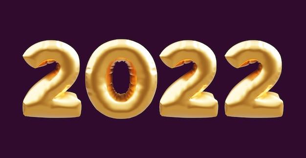 2022 balões 3d dourados. balões de ouro números 2022 isolados em fundo escuro. balões de ouro 2022