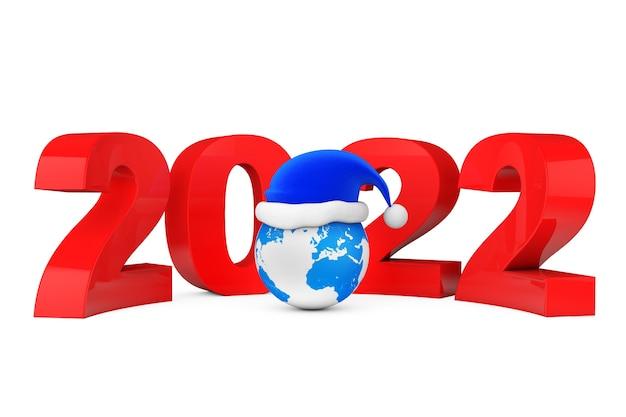 2022 conceito de ano novo. chapéu de papai noel sobre o globo terrestre em um fundo branco. renderização 3d