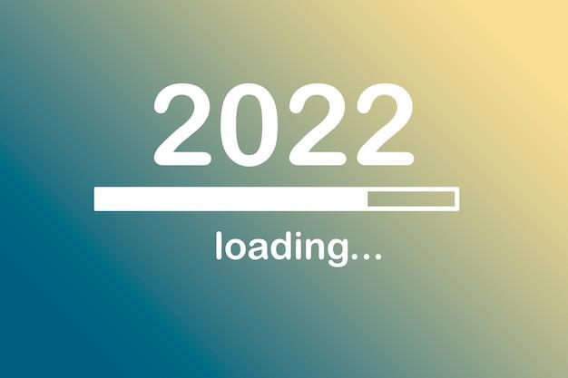 2022, mensagem, início, carregando. conceito de ano novo. futuro