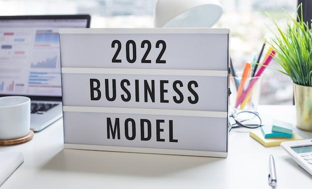 2022 modelo de negócios ou conceitos de projeto de planejamento, estratégia de marketing, visão para o sucesso