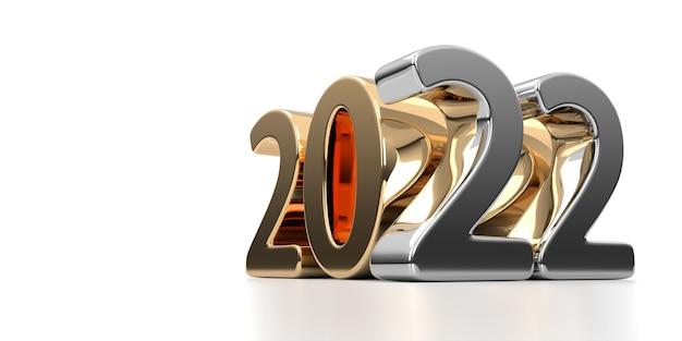 2022 ouro feliz ano novo em um fundo branco. renderização 3d
