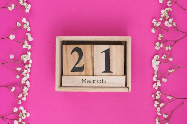 21 de março de inscrição com ramos de flores