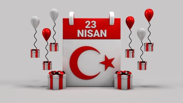 23 soberania nacional de nissan e calendário do dia da criança renderização em 3d