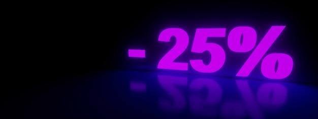 25 promoção de venda com desconto em neon