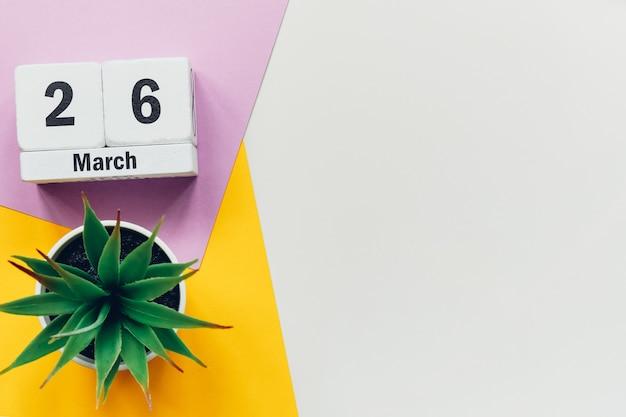 26 vigésimo sexto dia de março do calendário do mês da primavera
