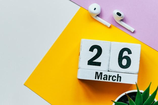 26 vigésimo sexto dia de março no calendário