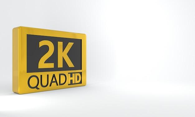 2k quad hd sinal preto e dourado botão ou ícone de etiqueta isométrica de alta definição ou resolução
