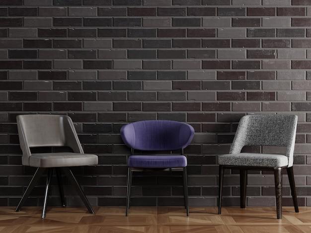 3 cadeiras diferentes em estilo moderno, em frente a parede de tijolo preto com copyspace