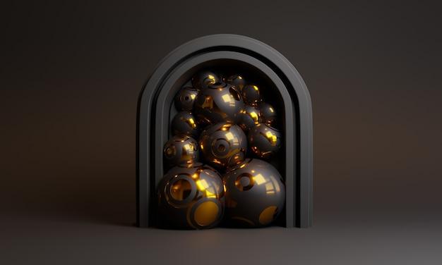3 d abstrata cena preta com portão e bolas