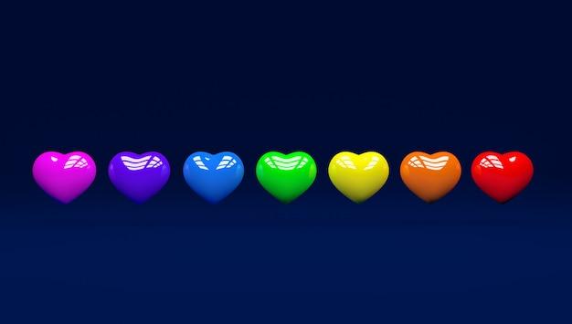 3 d corações coloridos orgulho dia com azul