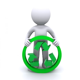 3 d homem segurar o símbolo de reciclagem