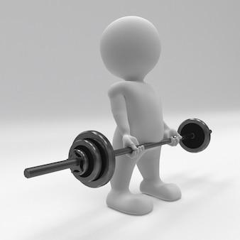 3 d morph homem exercitar com pesos de ginástica