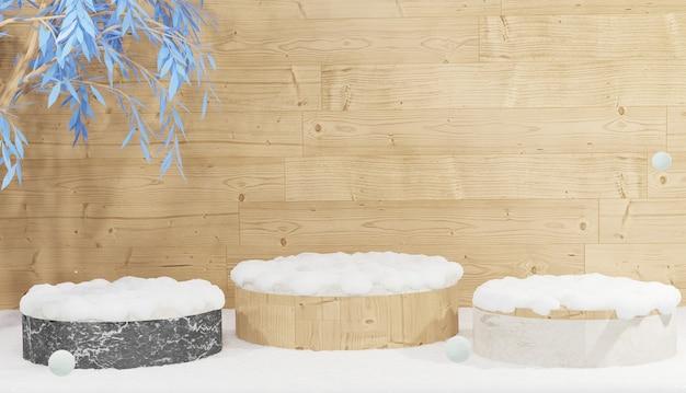 3 pódio de mármore vazio com folhas e coberto por neve pesada renderização 3d tema de inverno