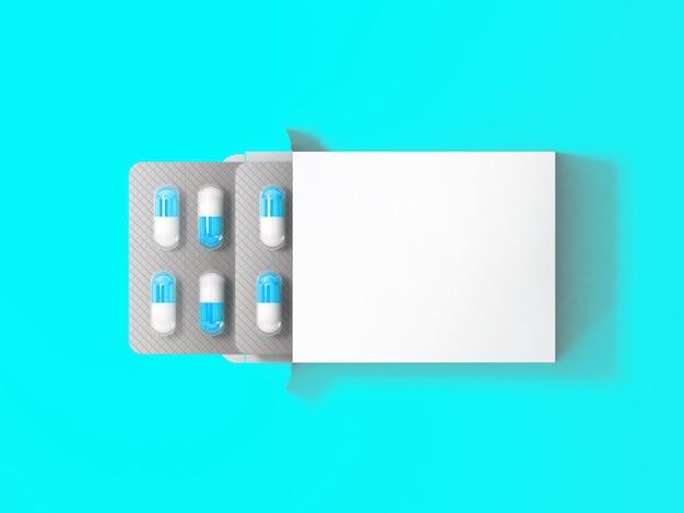 3 renderização em branco branco pacote caixa para bolha de pílulas isoladas em fundo colorido. adequado para o seu elemento de design.