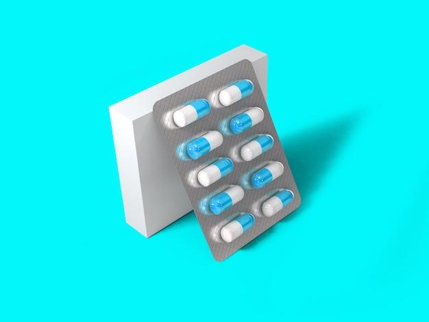 3 renderização em branco caixa de embalagem para bolha de pílulas isolada em superfície colorida