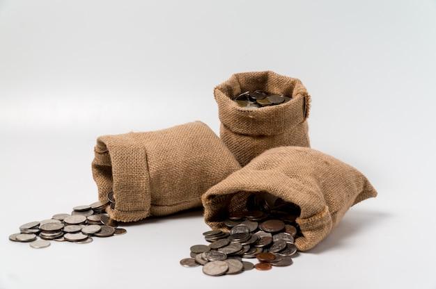 3 sacos de sacos de dinheiro feitos de saco de cânhamo cair