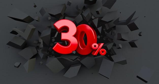30 trinta por cento de venda. idéia de black friday. até 30%