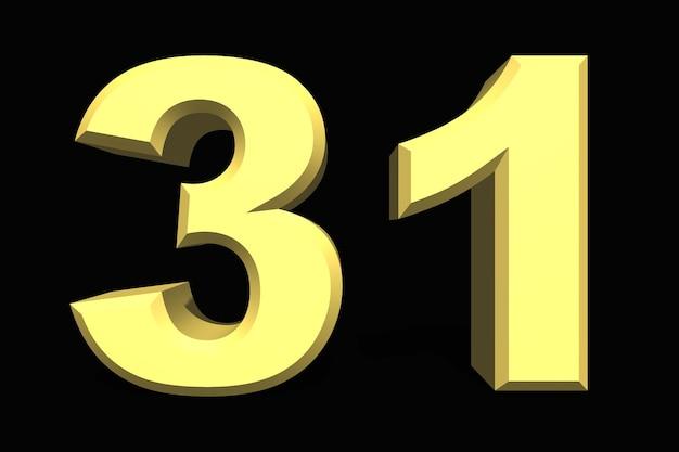31 trinta e um número 3d azul em um fundo escuro
