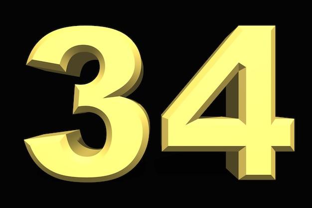 34 trinta e quatro número 3d azul em um fundo escuro