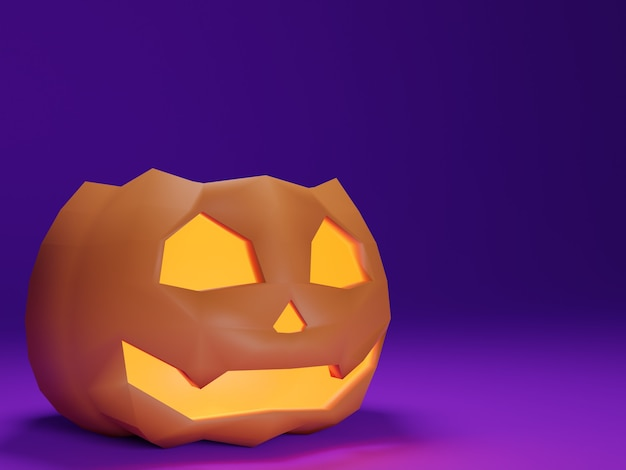 3d abóbora de halloween em fundo roxo