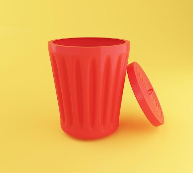 3d abrem o balde do lixo vermelho.