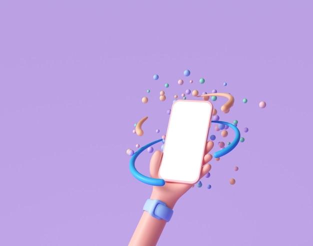 3d abstract cartoon mão segurando o telefone com esferas flutuantes aleatórias