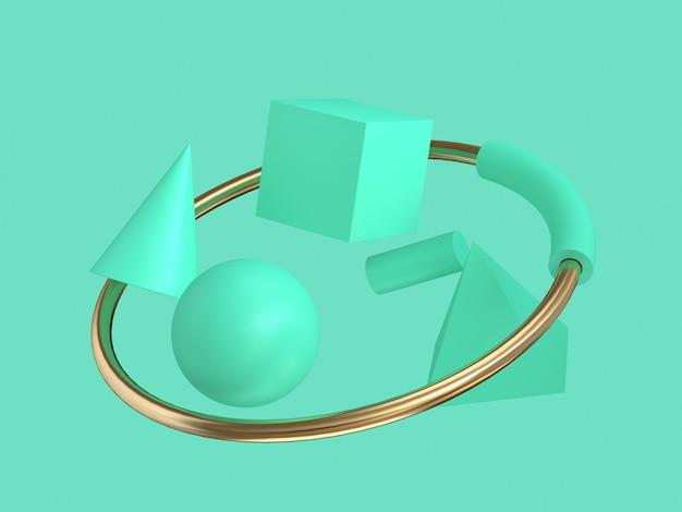 3d abstrata forma geométrica verde e anel de ouro flutuando verde mínimo